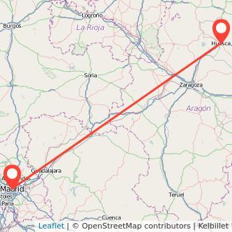 Mapa del viaje Madrid Huesca en tren