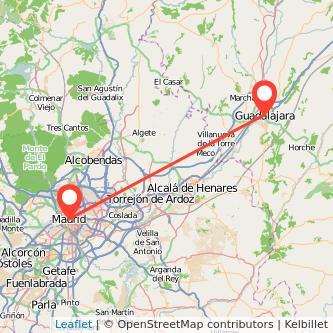 Mapa del viaje Madrid Guadalajara en bus