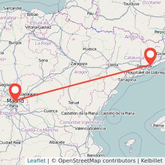 Mapa del viaje Madrid Granollers en tren