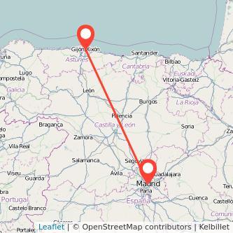 Mapa del viaje Madrid Gijón en bus