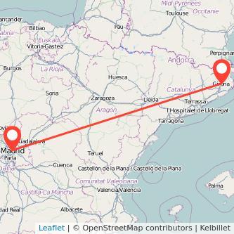 Mapa del viaje Madrid Girona en bus