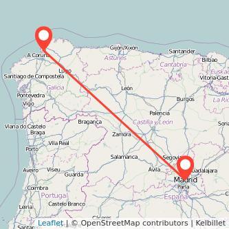 Mapa del viaje Madrid Ferrol en bus