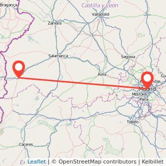 Mapa del viaje Madrid Ciudad-Rodrigo en bus