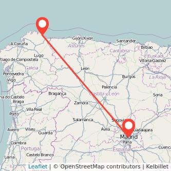 Mapa del viaje Madrid Burela de Cabo en bus
