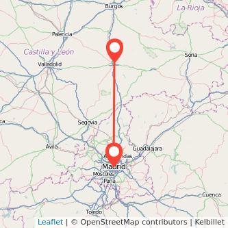 Mapa del viaje Madrid Aranda de Duero en bus