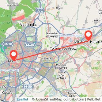 Mapa del viaje Madrid Alcalá de Henares en tren