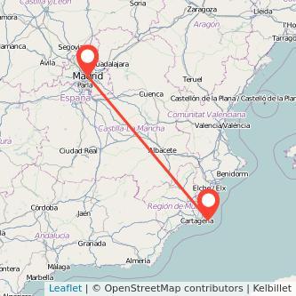 Mapa del viaje Madrid La Manga del Mar Menor en bus