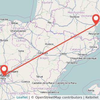 Mapa del viaje Madrid Narbonne en tren