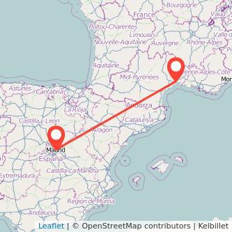 Mapa del viaje Madrid Montpellier en tren