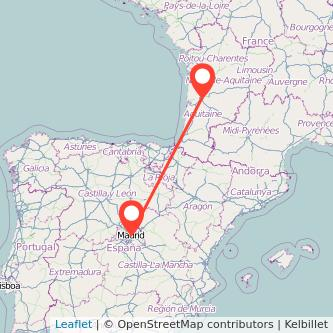 Mapa del viaje Madrid Burdeos en bus