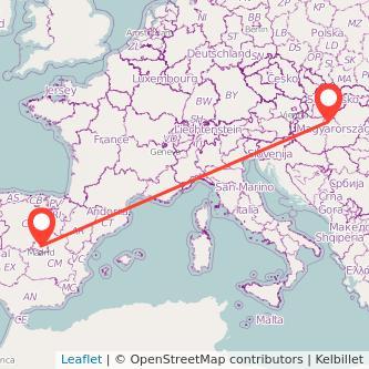 Madrid Budapest train map