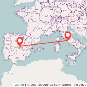 Mapa del viaje Madrid Roma en bus