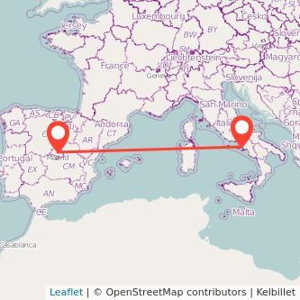 Mapa del viaje Madrid Nápoles en bus