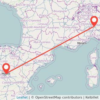 Mapa del viaje Madrid Milan en bus