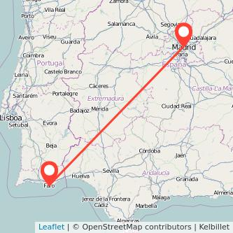 Mapa del viaje Madrid Faro en bus