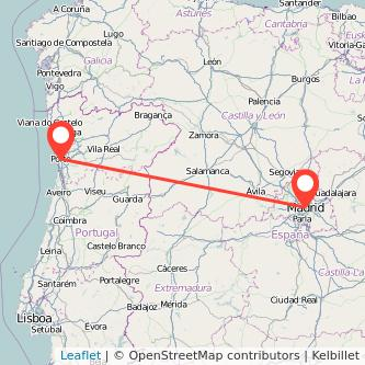Mapa del viaje Madrid Oporto en bus