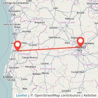 Mapa del viaje Madrid Coimbra en bus