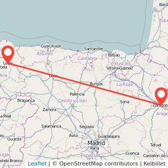 Mapa del viaje Lugo Zaragoza en bus