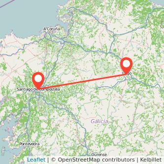 Mapa del viaje Lugo Santiago de Compostela en bus