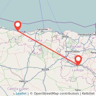 Mapa del viaje Llanes Logroño en bus