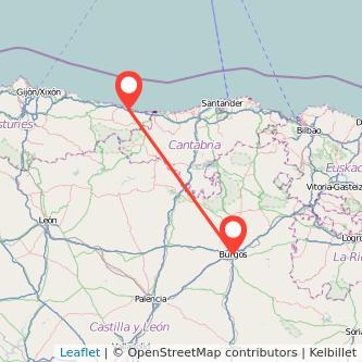 Mapa del viaje Llanes Burgos en bus