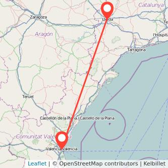 Mapa del viaje Lérida Valencia en tren