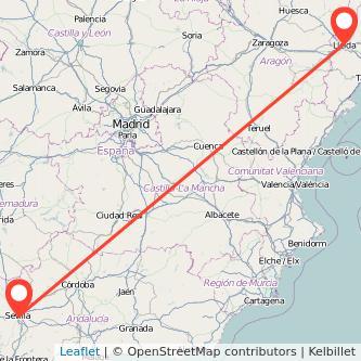 Mapa del viaje Lérida Sevilla en tren