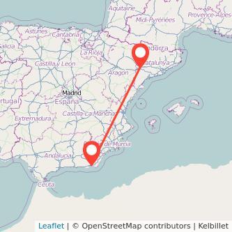 Mapa del viaje Lérida Almería en bus