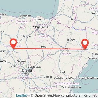 Mapa del viaje Lérida Valladolid en tren