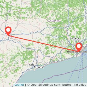 Mapa del viaje Lérida L'Hospitalet de Llobregat en tren
