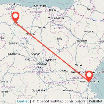 Mapa del viaje León Valencia en bus