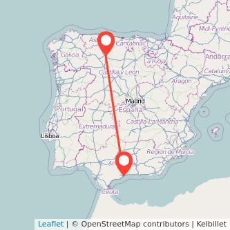 Mapa del viaje León Málaga en bus