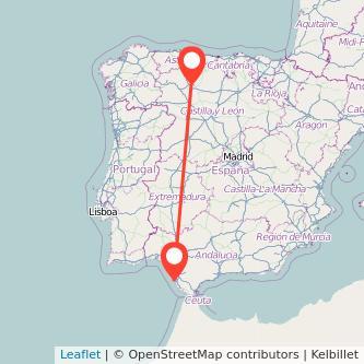 Mapa del viaje León Cádiz en bus