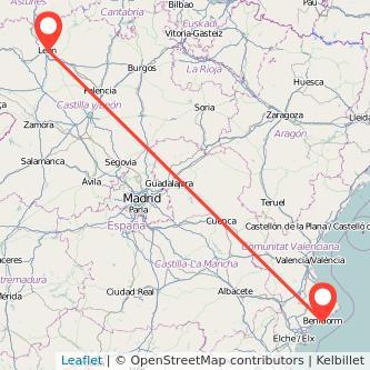 Mapa del viaje León Benidorm en bus