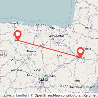 Mapa del viaje León Zaragoza en bus