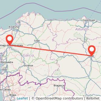 Mapa del viaje León Santiago de Compostela en bus