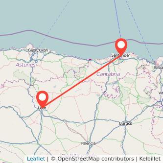 Mapa del viaje León Santander en bus