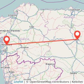 Mapa del viaje León Pontevedra en bus
