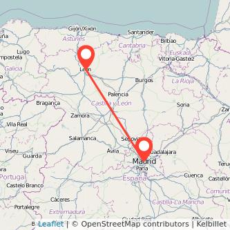 Mapa del viaje León Madrid en bus