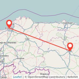 Mapa del viaje León A Coruña en bus