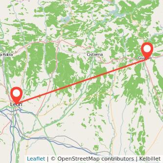 Mapa del viaje León Guardo en bus