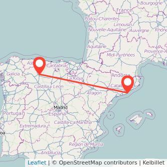 Mapa del viaje León Barcelona en bus