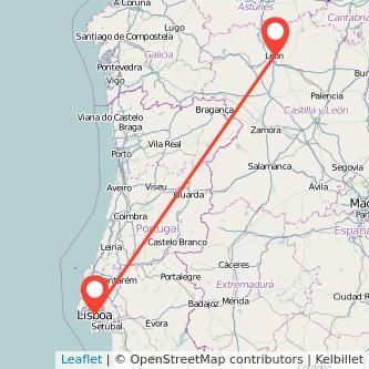 Mapa del viaje León Lisboa en bus