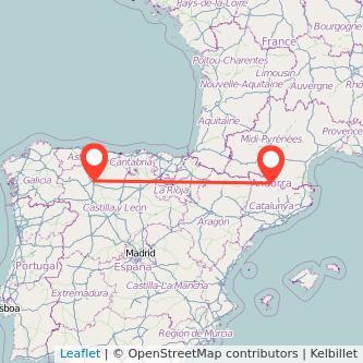 Mapa del viaje León Andorra en bus