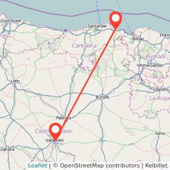 Mapa del viaje Laredo Valladolid en bus