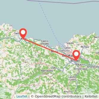 Mapa del viaje Laredo Bilbao en bus