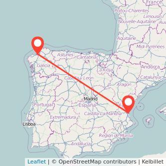 Mapa del viaje A Coruña Valencia en tren