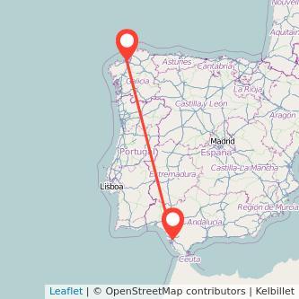 Mapa del viaje A Coruña Jerez de la Frontera en tren