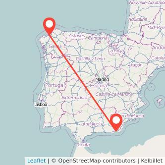 Mapa del viaje A Coruña Almería en tren