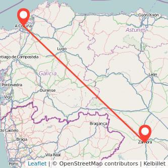 Mapa del viaje A Coruña Zamora en tren